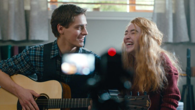 """Actors Fin Argus, left, and Sabrina Carpenter in """"Clouds."""" Photo courtesy of Disney+"""
