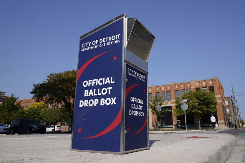 In this Sept. 24, 2020, file photo, a ballot drop box is shown where voters can drop off ballots instead of using the mail, outside the Detroit Pistons training facility in Detroit. (AP Photo/Paul Sancya, File)