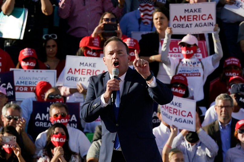 Sen. Mike Lee, R-Utah, speaks at a campaign rally for President Donald Trump at Phoenix Goodyear Airport on Oct. 28, 2020, in Goodyear, Arizona. (AP Photo/Ross D. Franklin)