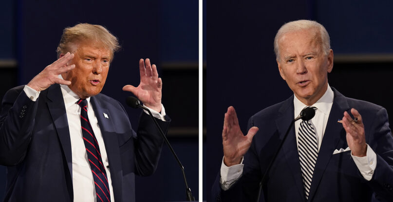This combination image of two photos shows President Donald Trump, left, and former Vice President Joe Biden during the first presidential debate Tuesday, Sept. 29, 2020, at Case Western University and Cleveland Clinic, in Cleveland, Ohio. (AP Photo/Patrick Semansky)