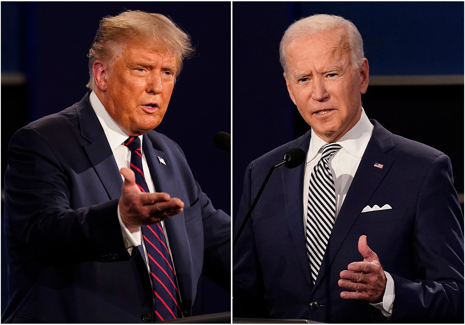 This combination of Sept. 29, 2020, photos shows President Donald Trump, left, and former Vice President Joe Biden during the first presidential debate at Case Western University and Cleveland Clinic, in Cleveland. (AP Photo/Patrick Semansky)