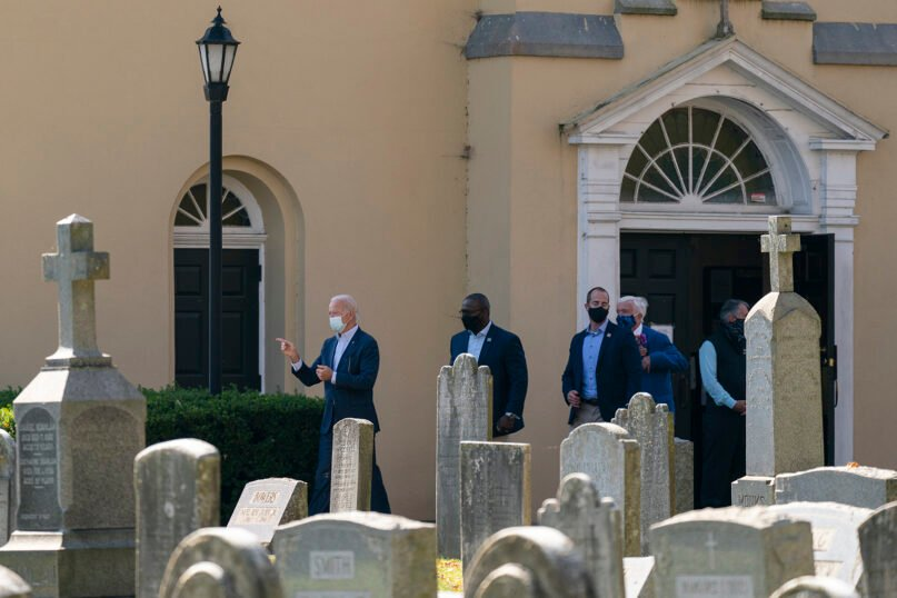 President-elect Joe Biden leaves St. Joseph on the Brandywine Catholic Church on Nov. 8, 2020, in Wilmington, Delaware. (AP Photo/Carolyn Kaster)
