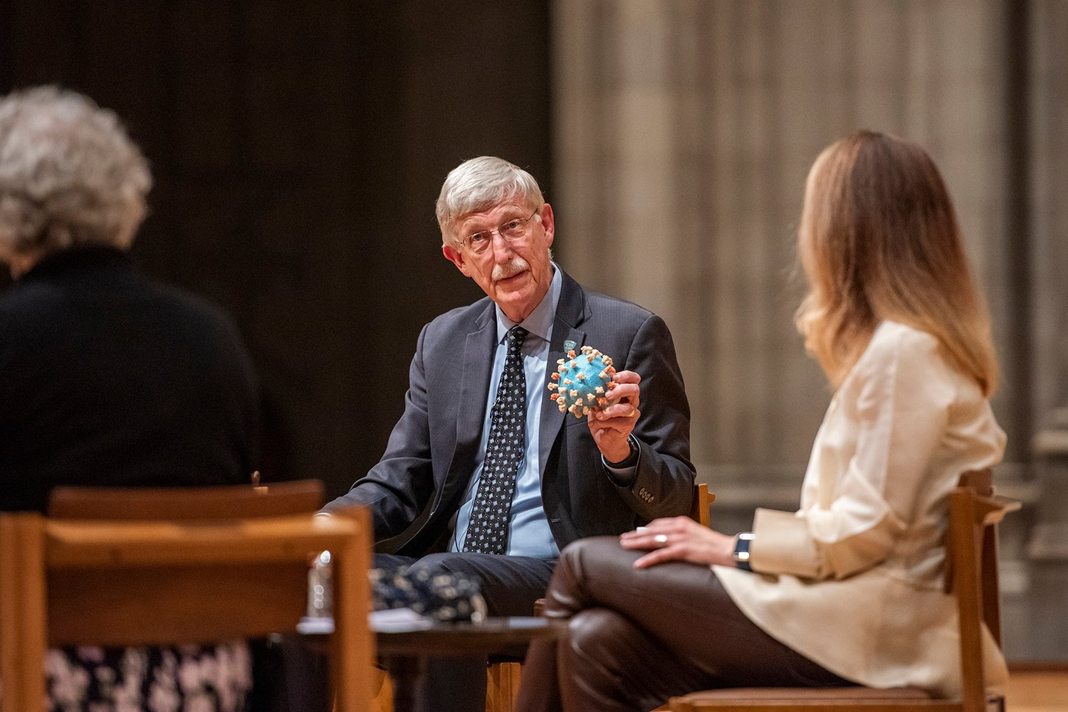 Dr. Francis Collins speaks at the the Ignatius Forum at the Washington National Cathedral. Image courtesy of Danielle E. Thomas/Washington National Cathedral