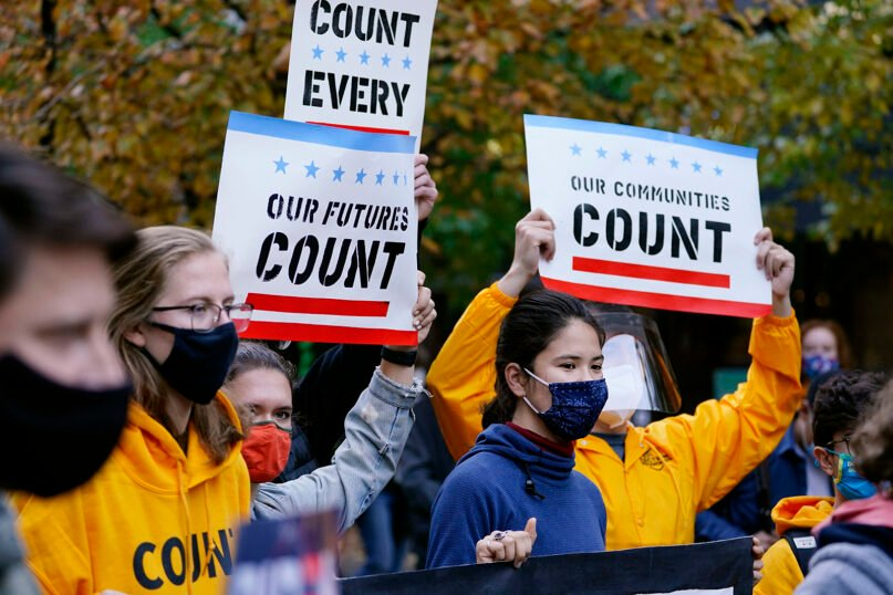 Demonstrators urge that all votes be counted outside the Pennsylvania Convention Center, Nov. 4, 2020, in Philadelphia. (AP Photo/Matt Slocum)