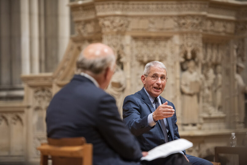 Dr. Anthony Fauci speaks about COVID-19 and gathering family together for holidays at a Washington National Cathedral forum on Nov. 12, 2020. Photo by Danielle E. Thomas/Washington National Cathedral