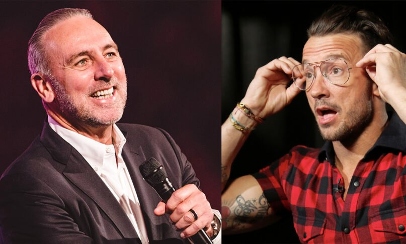Left: Brian Houston. Image courtesy of hillsong.com. Right: In this October 2017 photo, Carl Lentz, a pastor who ministered to thousands at his Hillsong Church in New York, appears during an interview in New York. (AP Photo/Bebeto Matthews)