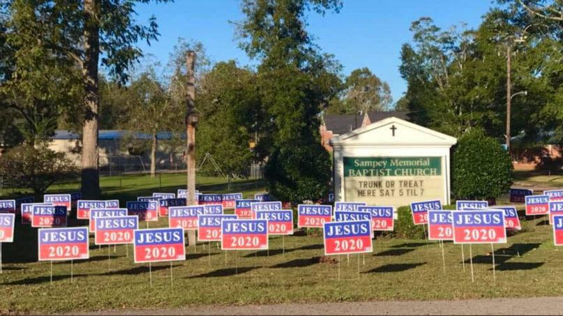 Jesus 2020 signs. Photo via Facebook