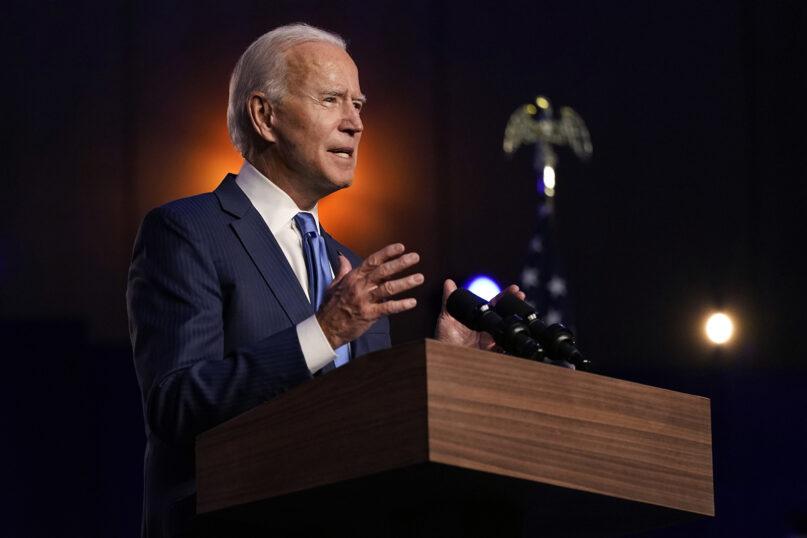 Democratic presidential candidate former Vice President Joe Biden speaks Friday, Nov. 6, 2020, in Wilmington, Delaware. (AP Photo/Carolyn Kaster)