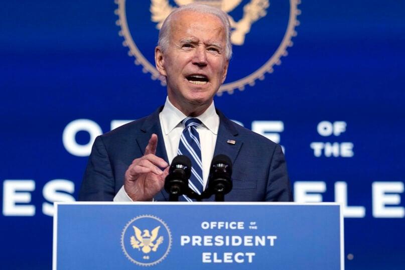 President-elect Joe Biden speaks at The Queen theater, Tuesday, Nov. 10, 2020, in Wilmington, Delaware. (AP Photo/Carolyn Kaster)