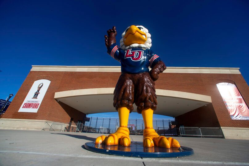 Liberty University's Sparky the Eagle is seen before an NCAA football game on Nov. 14, 2020, at Williams Stadium in Lynchburg, Virginia. (AP Photo/Shaban Athuman)