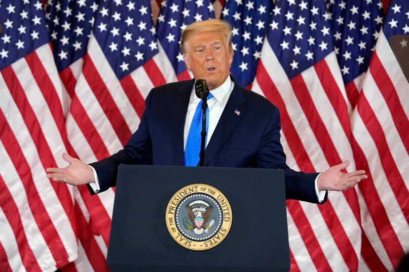 President Donald Trump speaks in the East Room of the White House in the early hours of Nov. 4, 2020, in Washington. (AP Photo/Evan Vucci)