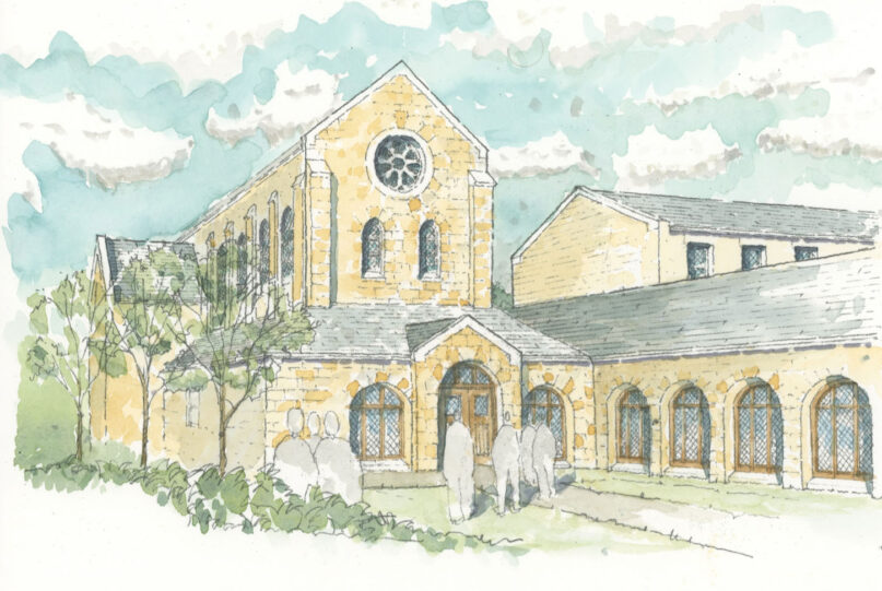 External rendering of the chapel entrance. RNS courtesy photo from Katelyn Ferral
