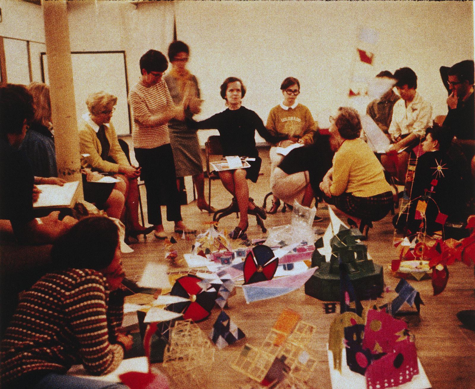 Corita Kent, center, teaches an art class. Photo courtesy of Corita Art Center/Immaculate Heart Community