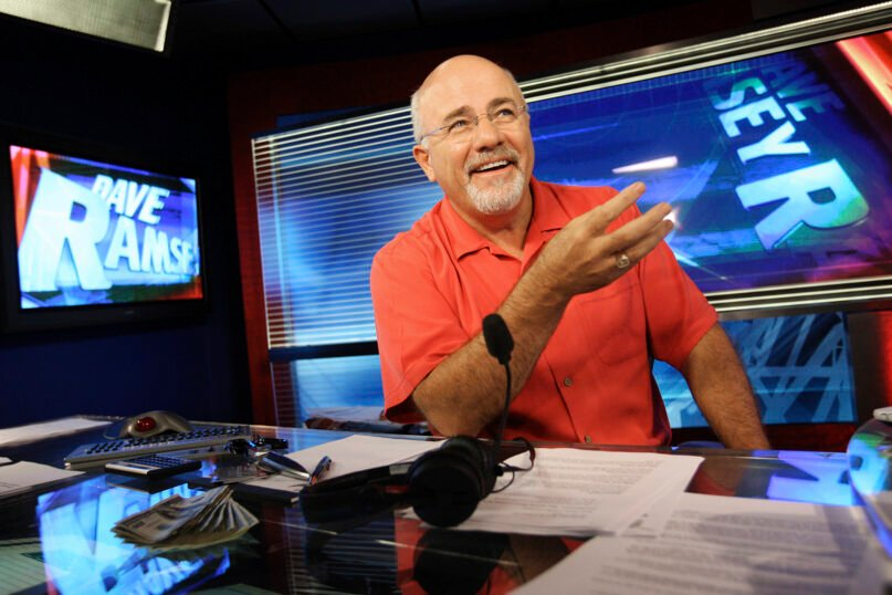 In this July 29, 2009, file photo, financial guru Dave Ramsey sits in his broadcasting studio in Brentwood, Tennessee. (AP Photo/Josh Anderson, File)