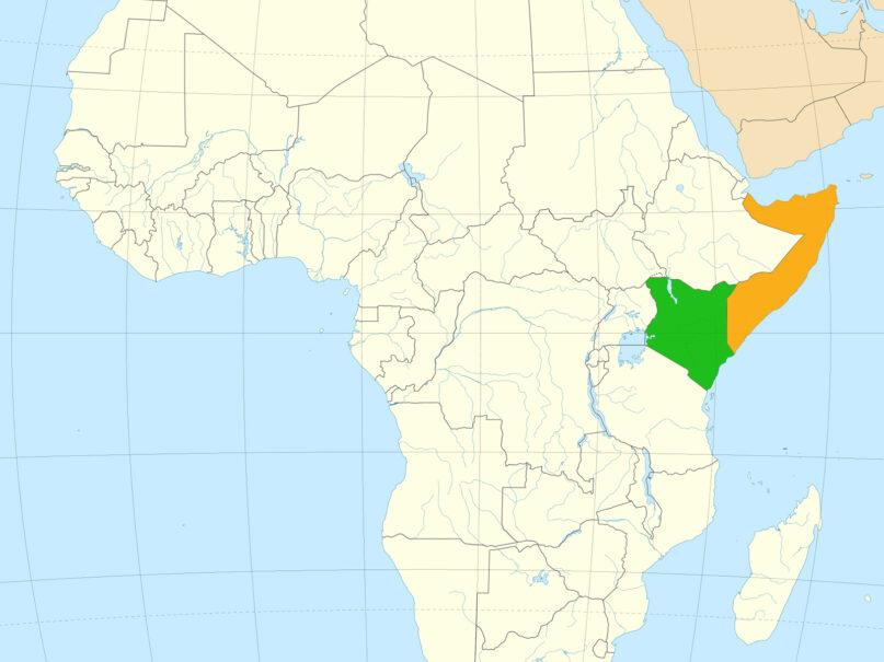 Kenya, green, and Somalia, orange, in eastern Africa. Map courtesy of Creative Commons