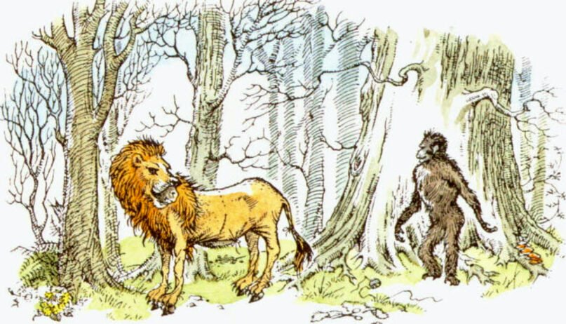 """Puzzle the donkey wearing a lion skin, left, and Shift the ape from the C.S. Lewis book """"The Last Battle."""" Illustration by Pauline Baynes"""