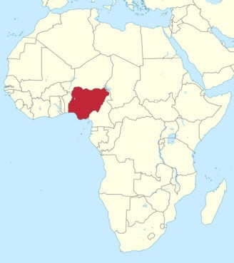 Nigeria, red, located in Africa. Image courtesy of Creative Commons