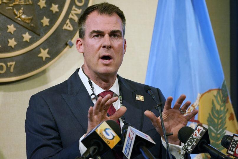 Oklahoma Gov. Kevin Stitt speaks during a news conference in Oklahoma City on Nov. 16, 2020. (AP Photo/Sue Ogrocki)