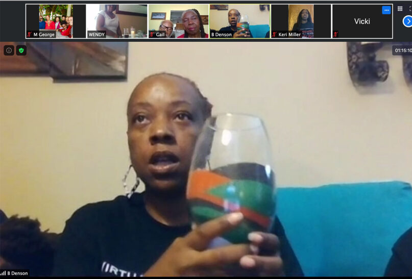 Ebony Pickett speaks during the unity sand pouring ceremony during a virtual Rosewood Family Reunion event in July 2020. Video screengrab