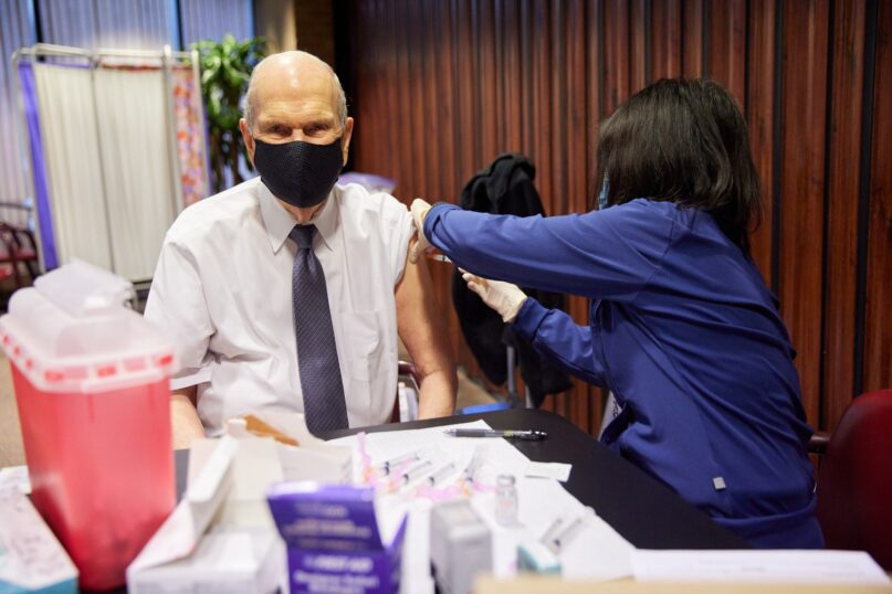 President Russell M. Nelson receives the first dose of a COVID-19 vaccine on Jan. 19, 2021, in Salt Lake City. Ⓒ2021 by Intellectual Reserve Inc. All rights reserved.