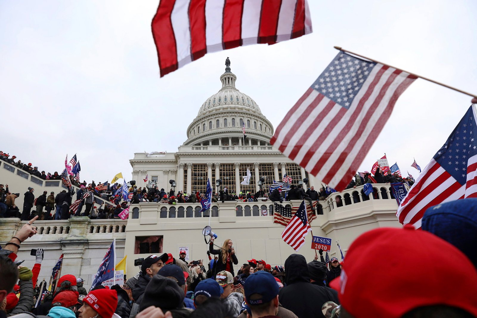 Supporters of President Donald Trump gather outside the U.S. Capitol on Jan. 6, 2021, in Washington. (AP Photo/Shafkat Anowar)