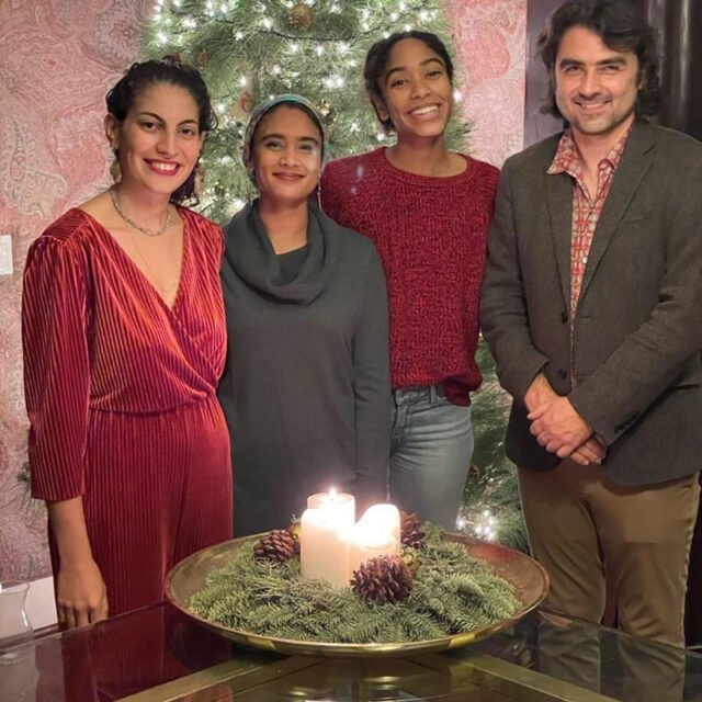 The four fellows of Abrahamic House, Hadar Cohen, from left, Ala' Khan, Maya Mansour and Jonathan Simcosky share a Christmas greeting from their residence in Los Angeles. Courtesy photo