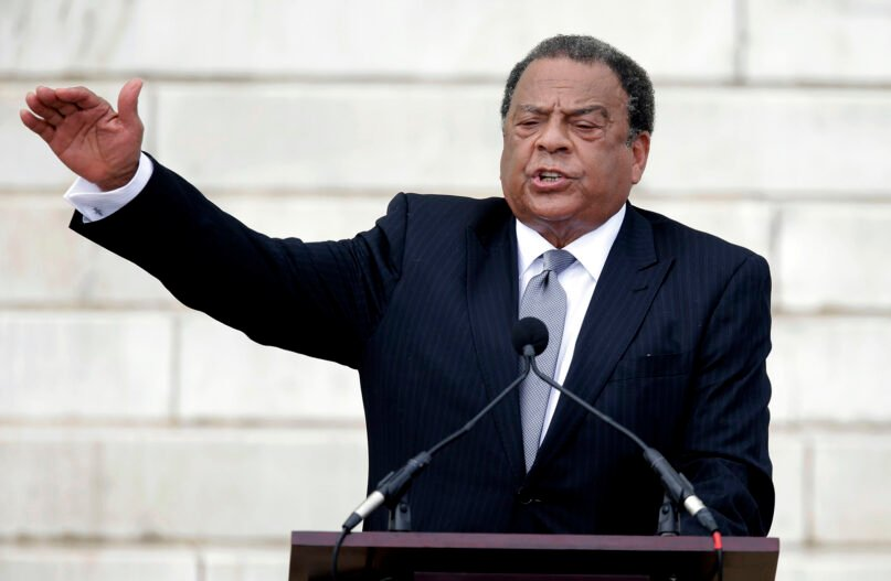 In this Aug. 28, 2013, file photo, former United Nations Ambassador Andrew Young speaks at the Let Freedom Ring ceremony at the Lincoln Memorial in Washington to commemorate the 50th anniversary of the 1963 March on Washington for Jobs and Freedom. Young, a lieutenant of the Rev. Martin Luther King Jr. during the 1960s civil rights movement, marvels at both the sizes and the spontaneity of today's protests against racial injustice. The former Democratic congressman, Atlanta mayor and United Nations ambassador recalled activists spending three months to organize for a 1963 Birmingham, Alabama, campaign in which King and other protesters were jailed. He said only a fraction of the 500 demonstrators sought showed up. (AP Photo/Carolyn Kaster, File)
