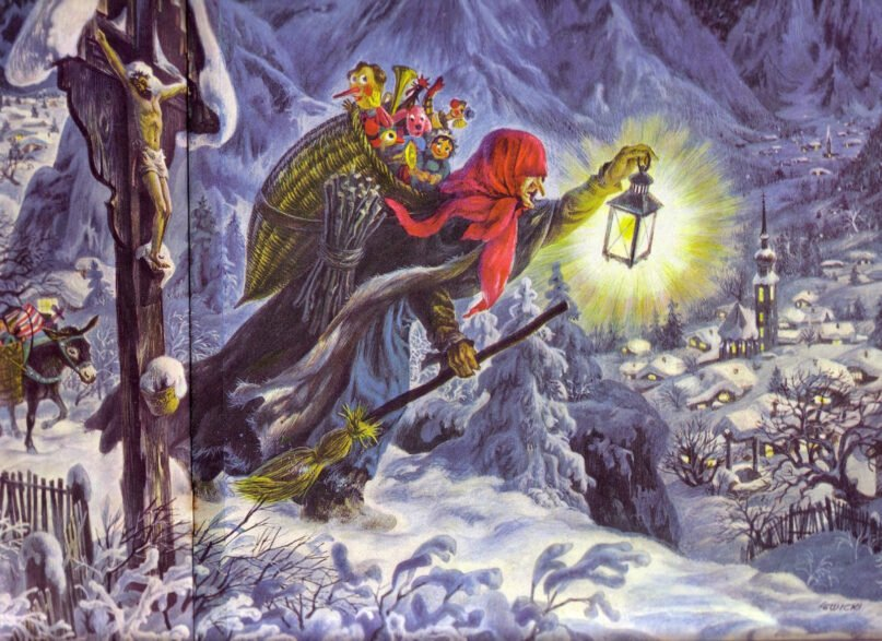 """La Befana, the Italian Epiphany witch. Painting by James Lewicki, from """"The Golden Book of Christmas Tales"""" 1956"""