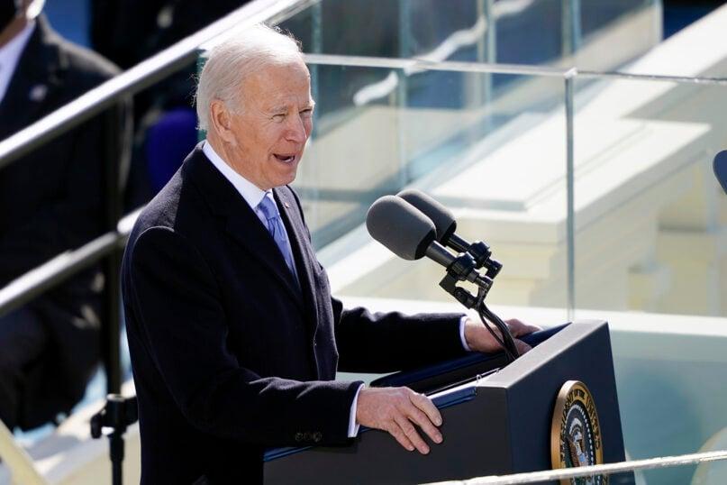 President Joe Biden speaks during the 59th presidential inauguration at the U.S. Capitol in Washington, Jan. 20, 2021. (AP Photo/Carolyn Kaster)