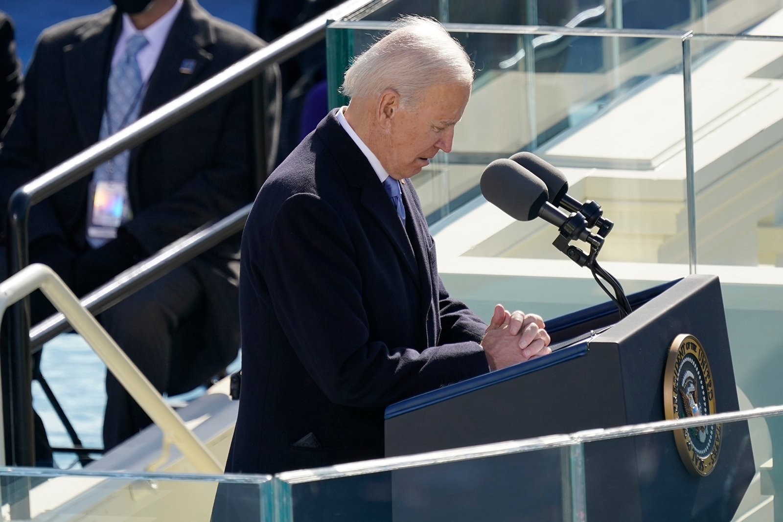 President Joe Biden bows his head as he speaks during the 59th Presidential Inauguration at the U.S. Capitol in Washington, Wednesday, Jan. 20, 2021(AP Photo/Carolyn Kaster)