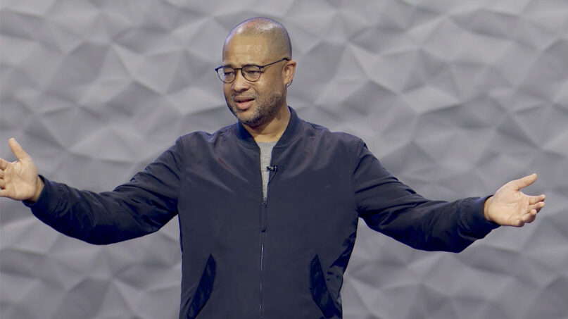 The Rev. Bryan Loritts preaches at The Summit Church in Durham, North Carolina, in October 2020. Video screengrab