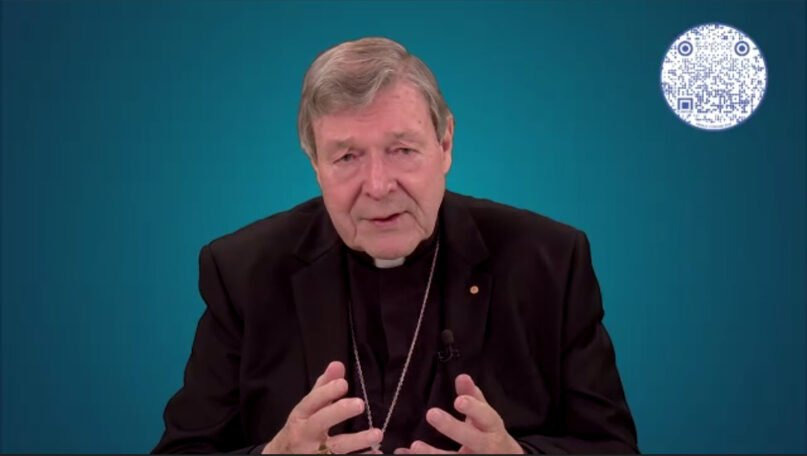 Cardinal George Pell speaks during a virtual event organized by the Global Institute of Church Management, Thursday, Jan. 14, 2021. Video screengrab