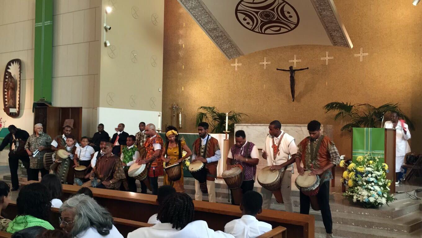 An ensemble sounds the drums during a pre-pandemic Mass at St. Brigid Catholic Church in South Central Los Angeles. Photo by LaVonne M Anderson