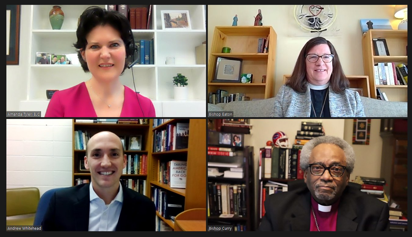 """Amanda Tyler, clockwise from top left, Bishop Elizabeth Eaton, Bishop Michael Curry and Andrew Whitehead participate in the panel discussion, """"Democracy and Faith Under Siege: Responding to Christian Nationalism,"""" hosted by Christians Against Christian Nationalism. Video screengrab"""