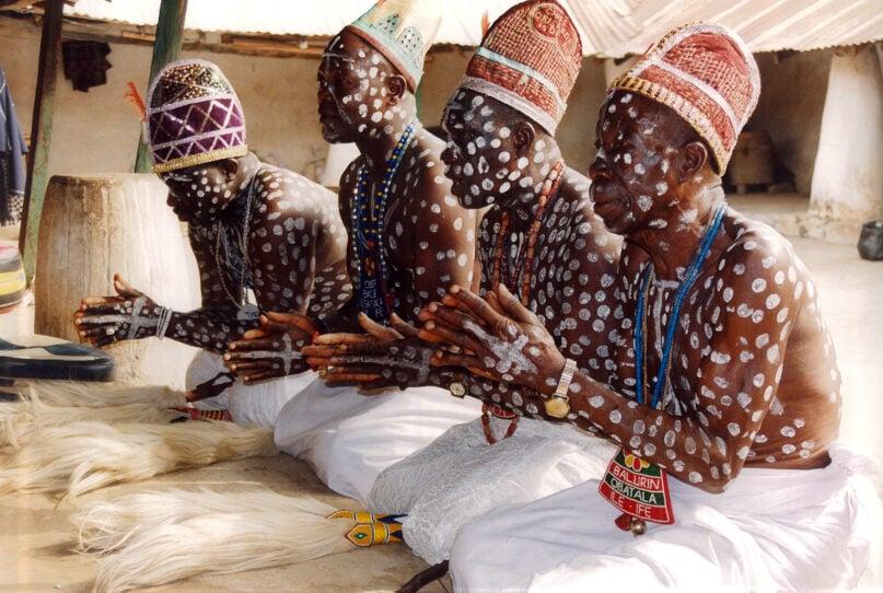 Obatala priests in their temple in Ife, Nigeria, in 2000. Photo by Dierk Lange/Creative Commons