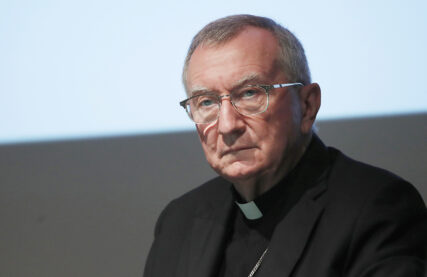FILE - The Vatican secretary of state Cardinal Pietro Parolin attends at the 150th anniversary of the arrival of Catholic missionaries in China from an Italian religious order meeting, in Milan, Italy, Saturday, Oct. 3, 2020. (AP Photo/Antonio Calanni)