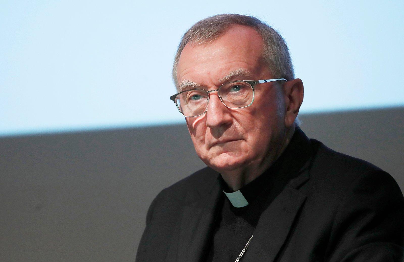 Vatican Secretary of State Cardinal Pietro Parolin attends a meeting in Milan, Italy, Saturday, Oct. 3, 2020. (AP Photo/Antonio Calanni)
