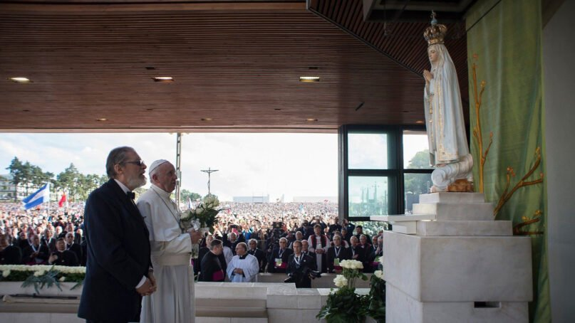 Fabrizio Soccorsi, left, and Pope Francis visit The Chapel of the Apparitions in Fatima, Portugal. Photo via Vatican News