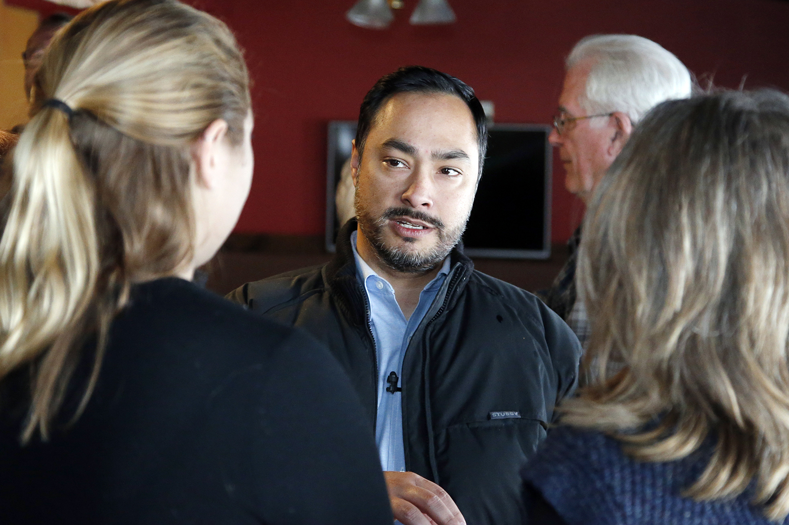 Rep. Joaquin Castro, D-Texas, talks with attendees at an Elizabeth Warren presidential campaign event, Wednesday, Jan. 22, 2020, in Denison, Iowa. (AP Photo/Sue Ogrocki)