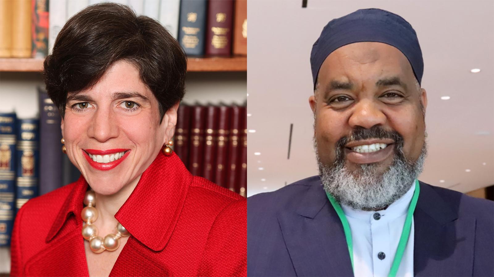 Rabbi Julie Schonfeld, left, and Imam Mohamed Magid. Courtesy photo, left. RNS photo by Adelle M. Banks, right.