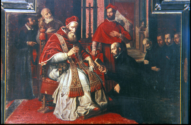 Saint Ignatius of Loyola, right, presents a book to Pope Paul III, circa 1534. (Roger Viollet Collection/Getty Images)