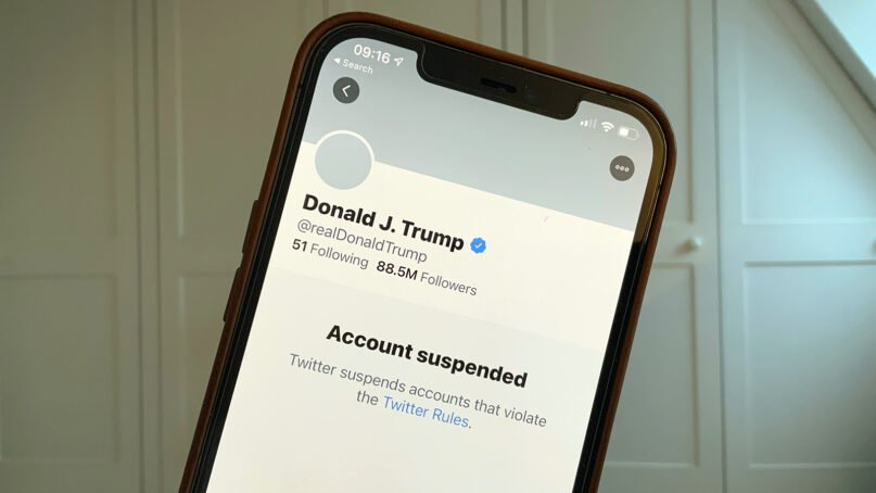 President Donald Trump's suspended personal Twitter account. Photo by John Cameron/Unsplash/Creative Commons