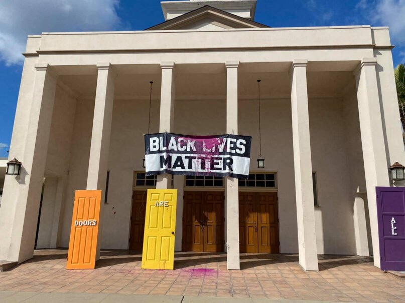 A defaced Black Lives Matter sign at University Christian Church was discovered early Jan. 24, 2021, in San Diego. Photo courtesy of University Christian Church