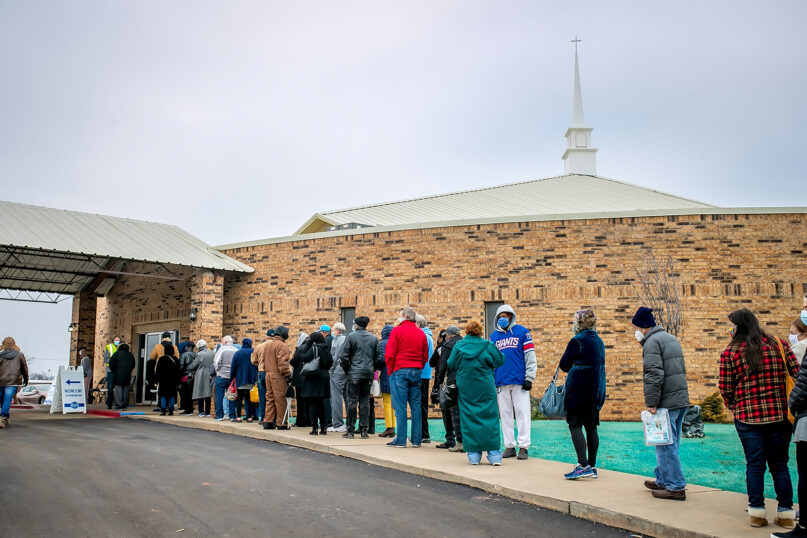 People line up for COVID-19 vaccinations outside Ebenezer Baptist Church in Oklahoma City on Jan. 26, 2021. Photo by J. Wiggins for Concepts Productions/courtesy Ebenezer Baptist Church