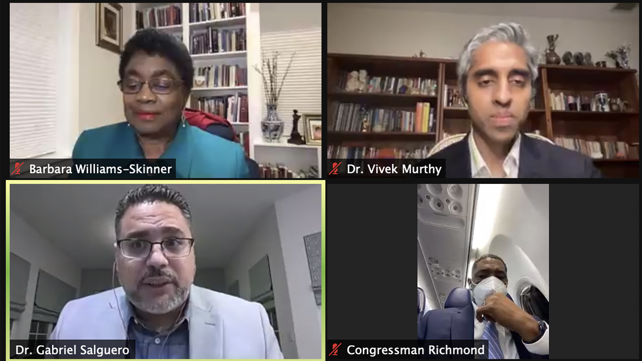 U.S. surgeon general nominee Vivek Murthy, top right, leads a recent virtual conversation with clergy of color about the coronavirus vaccination effort. Video screengrab