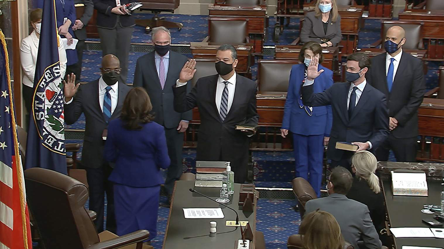 The Rev. Raphael Warnock sworn in with two others as new senator