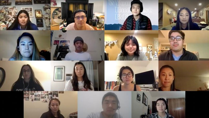 Young Buddhist Editorial members participate in a recent virtual meeting. Video screengrab