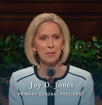 Joy G. Jones, the Primary General President, addresses the October 2017 General Conference of the Church of Jesus Christ of Latter-day Saints, shortly after the funeral of her son Trevor.