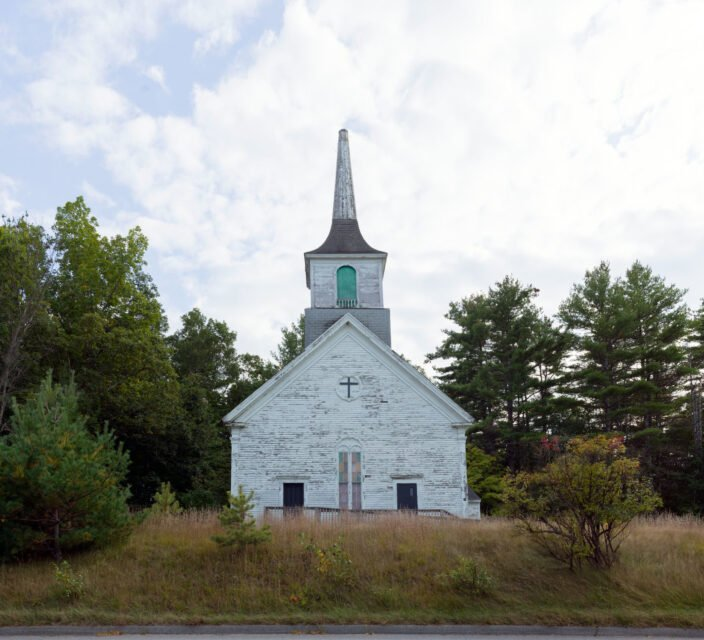 This old church, high above the old highway known as the Ossipee Trail, near Limington, Maine, is abandoned and unmarked. Photo by Carol M. Highsmith/LOC/Creative Commons