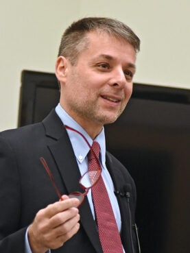 """Villanova Professor Massimo Faggioli speaks on """"Francis Between Vatican II and Global Catholicism,"""" part of the 2019 Fall Education Speaker Series at the Community of St. Peter, Thursday, Oct. 24, 2019, in Cleveland, Ohio. Faggioli is full professor in the Department of Theology and Religious Studies at Villanova University in Philadelphia. (Photo by Peggy Turbett/ Community of St. Peter)"""